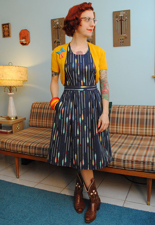 Cotton + Steel arrow dress with a kicky yellow bolero