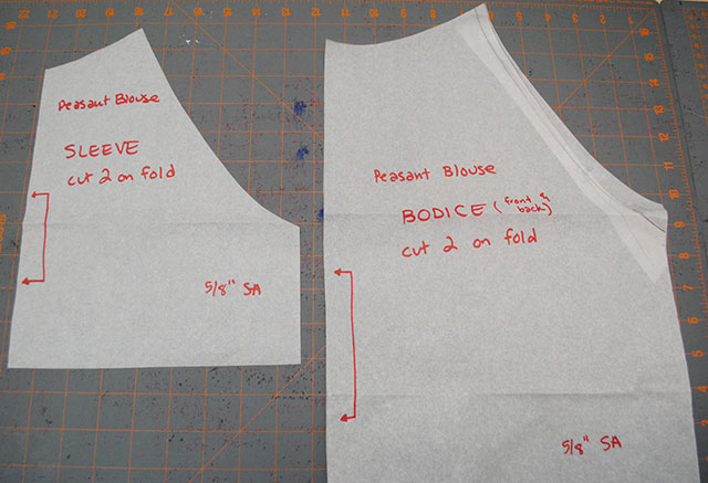 peasant blouse pattern pieces