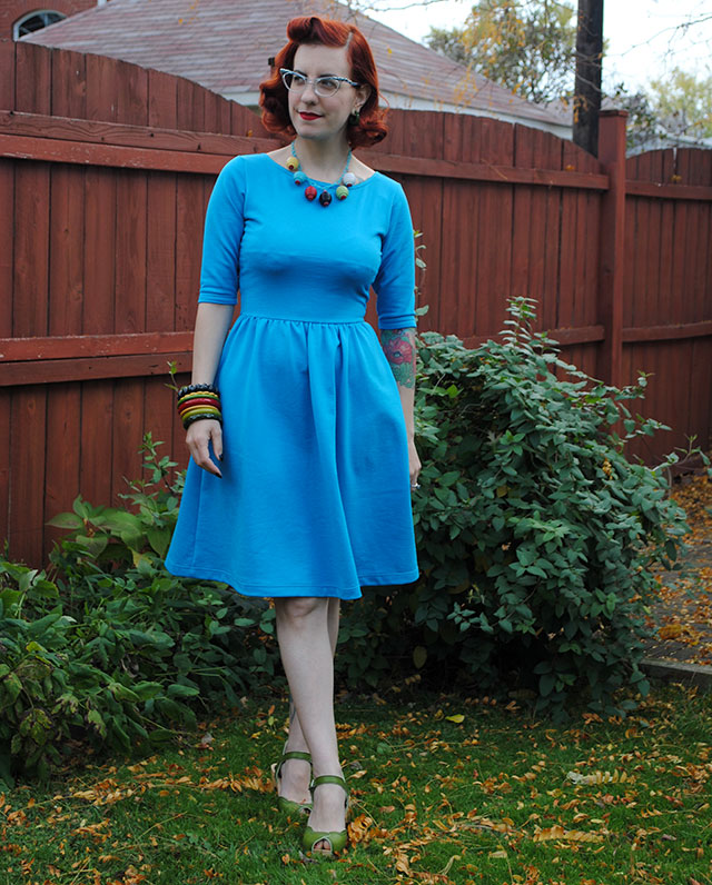 A turquoise Moneta dress