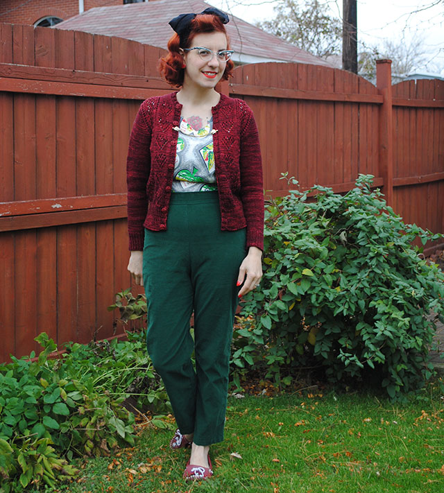 Ten of Hearts cardigan and Butterick B5895 trousers