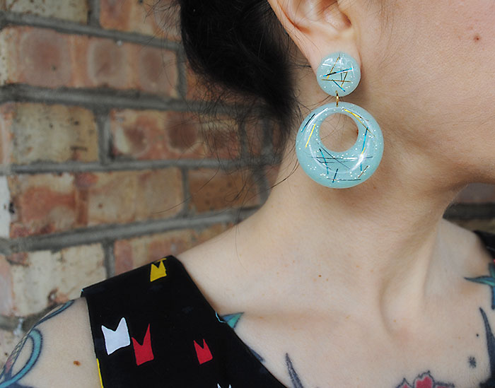 By Gum, By Golly blue tinsel vintage-style earrings