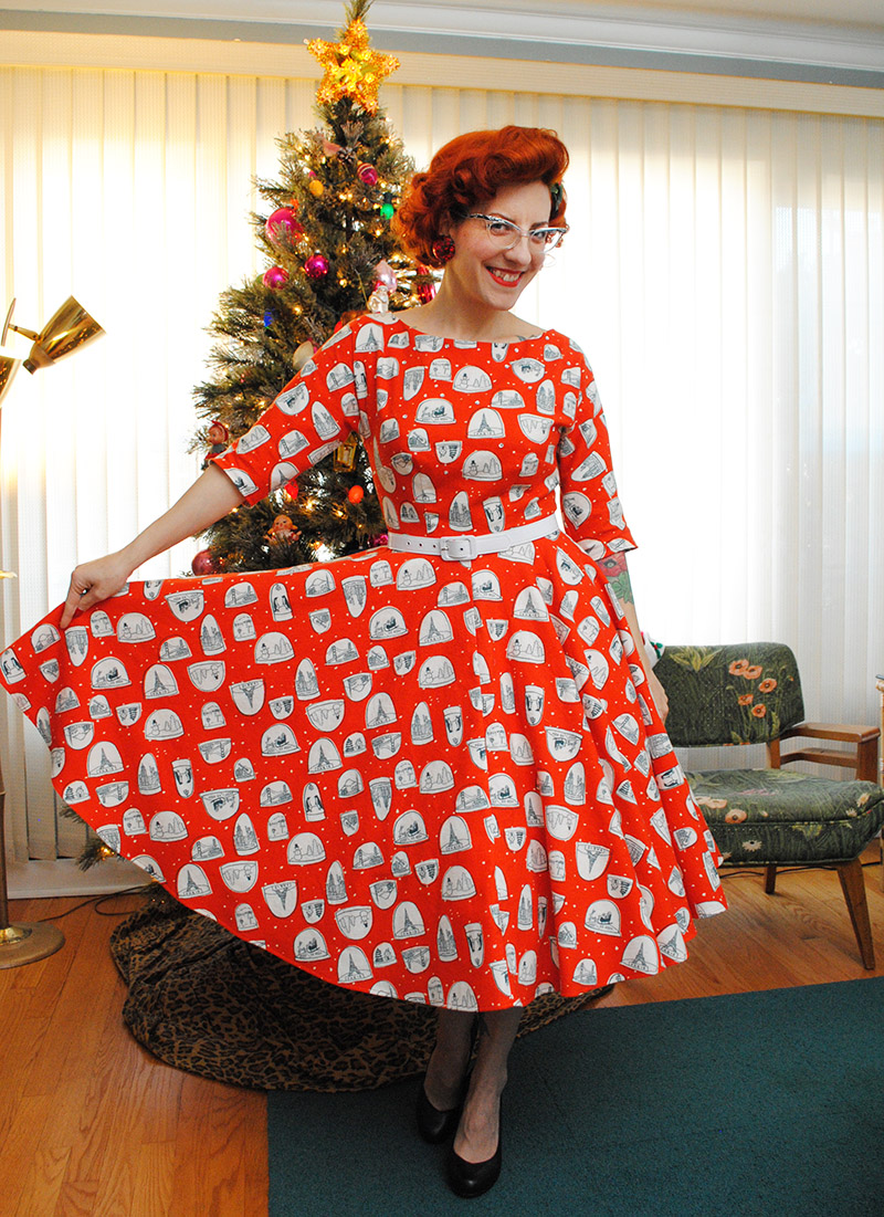 A very flannel snow globe dress for Christmas day