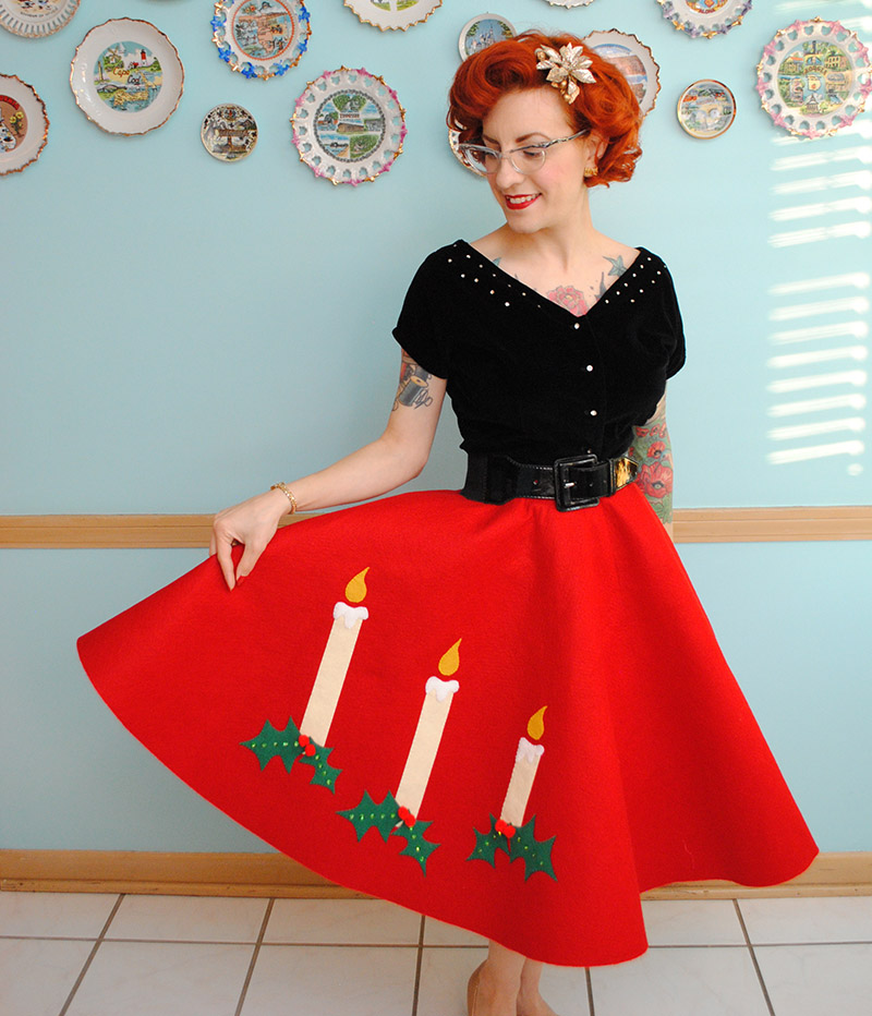Novelty felt Christmas skirt