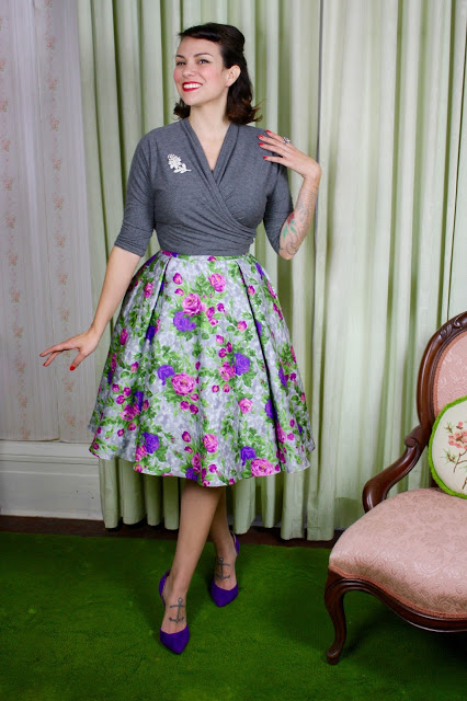 Gertie's gray Butterick B6285 wrap top, copyright Gretchen Hirsch