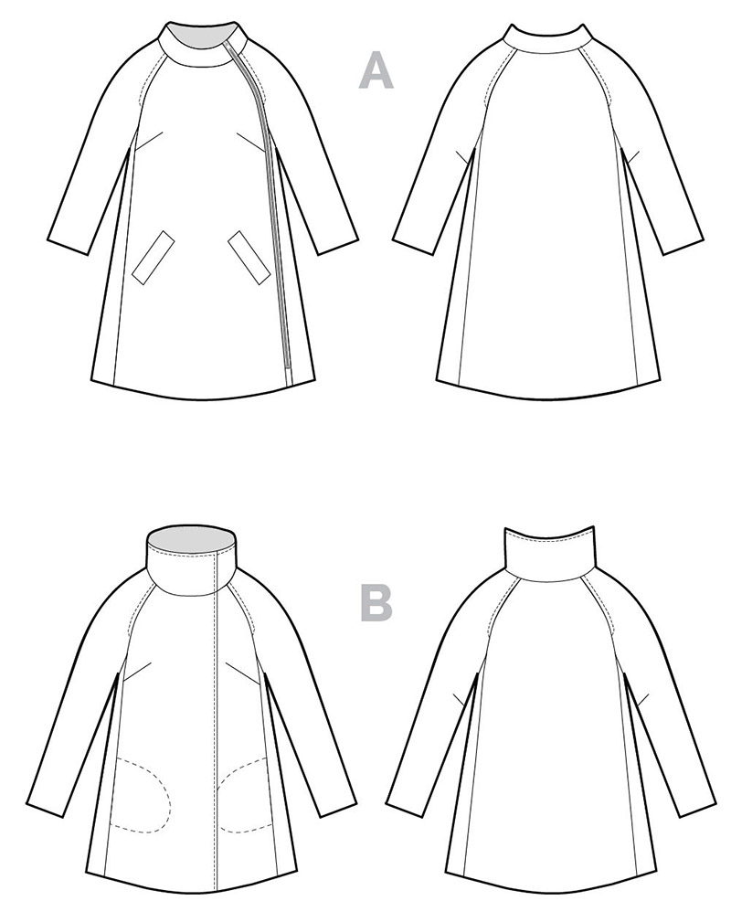 Clare coat technical illustration, copyright Closet Case Patterns
