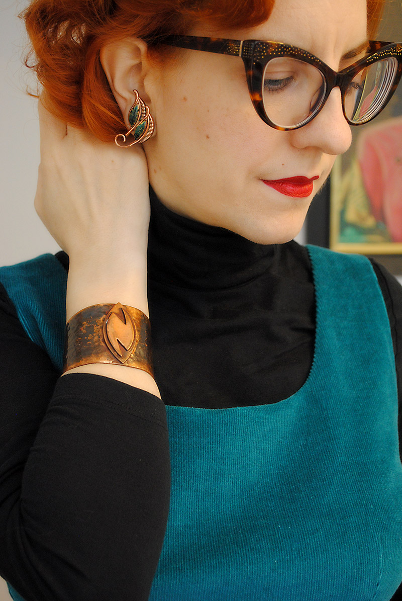Matisse earrings and modernist copper cuff
