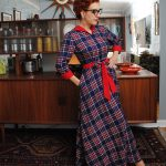 Vintage dressing gown in plaid flannel